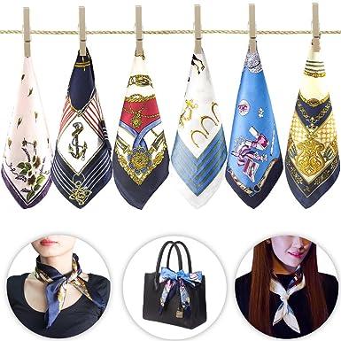 6 pcs femmes petites foulards carrés soie sentiment satin Bandana dames  hôtesse de la main main db065442715