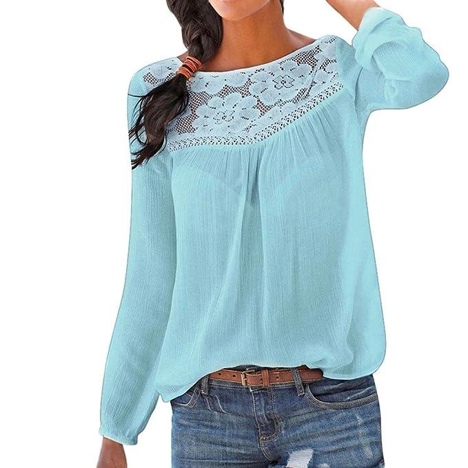 f55e9bbdd444 Damen Langarm-Shirt, Frashing Damen Langarm Spitzenoberteil Damen Shirt  Rundhals Lose Bluse Langarmshirts Hemd