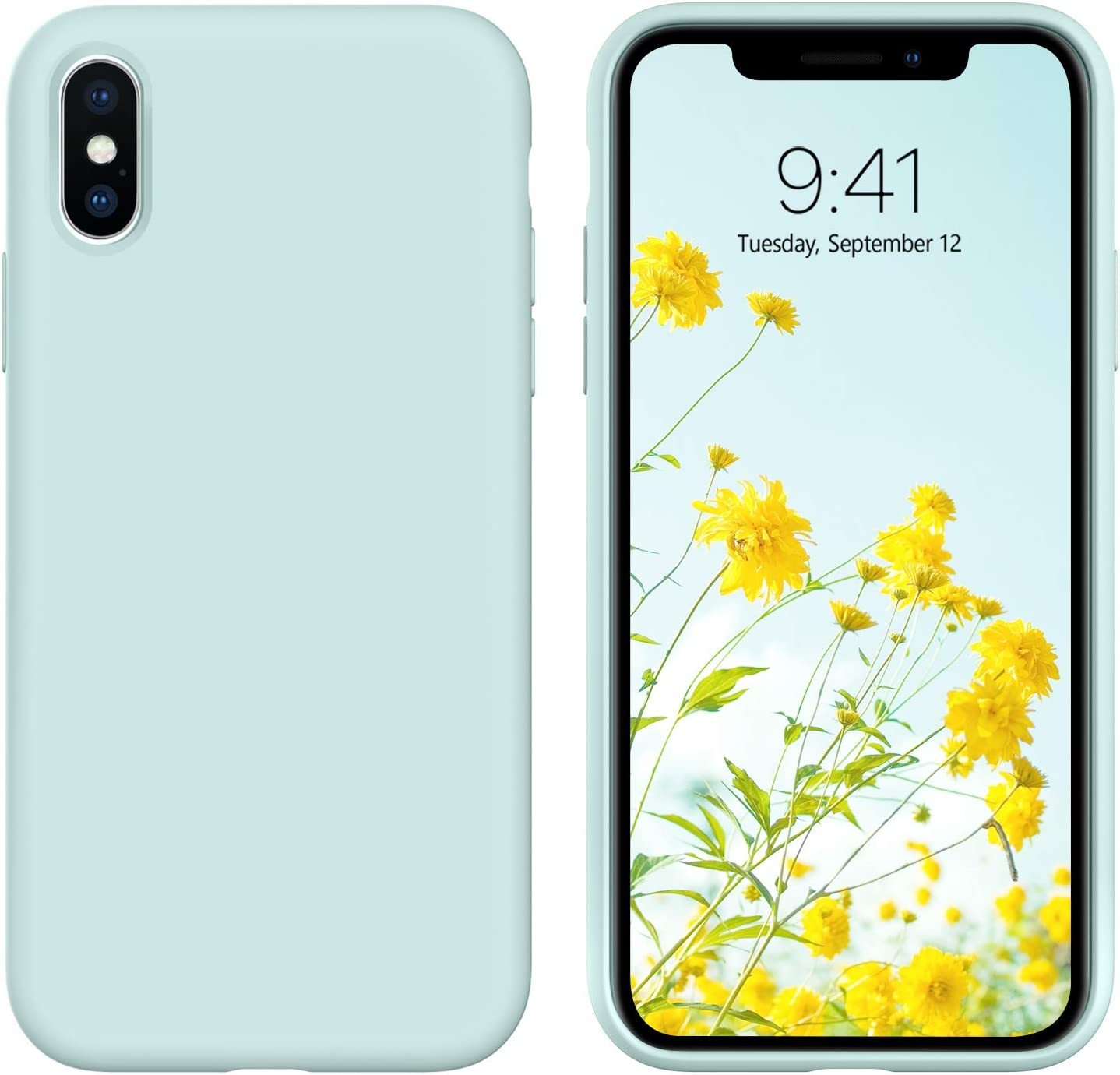 DUEDUE iPhone Xs Max Case, Liquid Silicone Soft Gel Rubber Slim Cover with Microfiber Cloth Lining Cushion Shockproof Anti-Scratch Full Protective Cover for iPhone Xs Max, Mint Green