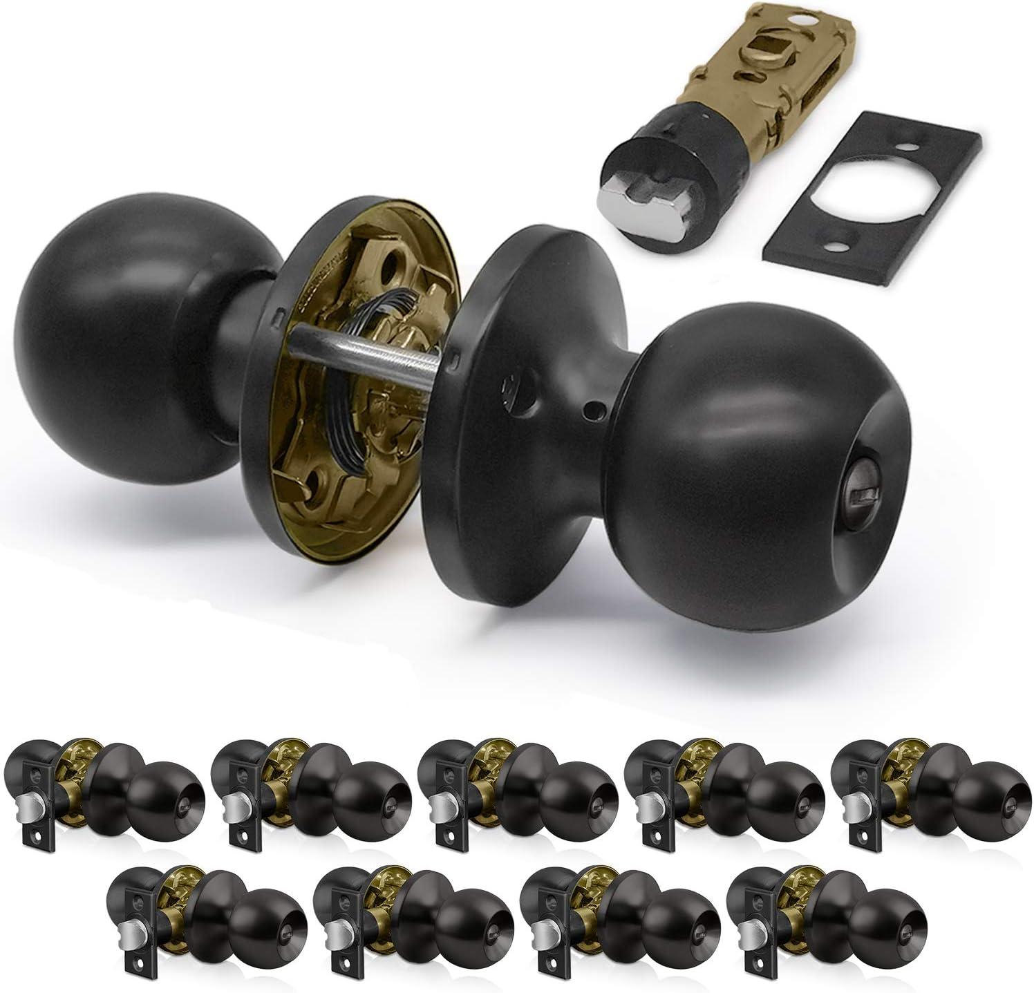 [10 Pack] Privacy Door Knob Set with Keyless Lock, Ball Door Knob for Bedroom and Bathroom, All Metal, Black, by BESTTEN