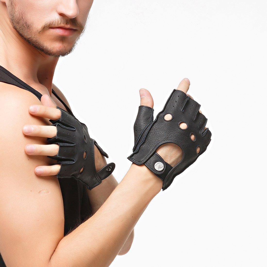 Nappaglo Men s Deerskin fingerless guantes medio dedo de cuero guantes de conducir moto Ciclismo Equitacion sin forro