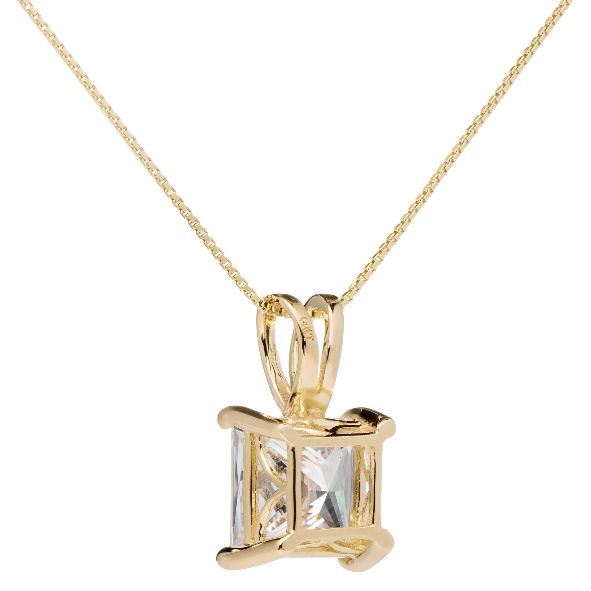 14K Solid Yellow Gold Princess Cut Cubic Zirconia Solitaire Pendant Necklace (2 Carat), 16 inch .50mm Box Link Chain, Gift Box by Everyday Elegance Jewelry (Image #3)