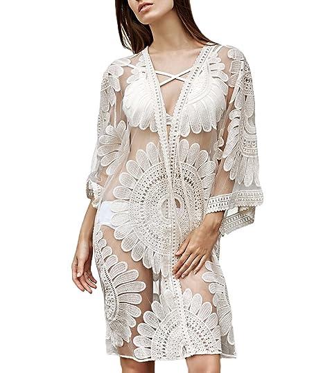 Saoye Fashion Pareos Playa Mujer Elegantes Vintage Encaje Bordado Transparentes Cardigan Largos Verano Casual Anchas Hipster Niñas Ropa De Playa Bikini ...
