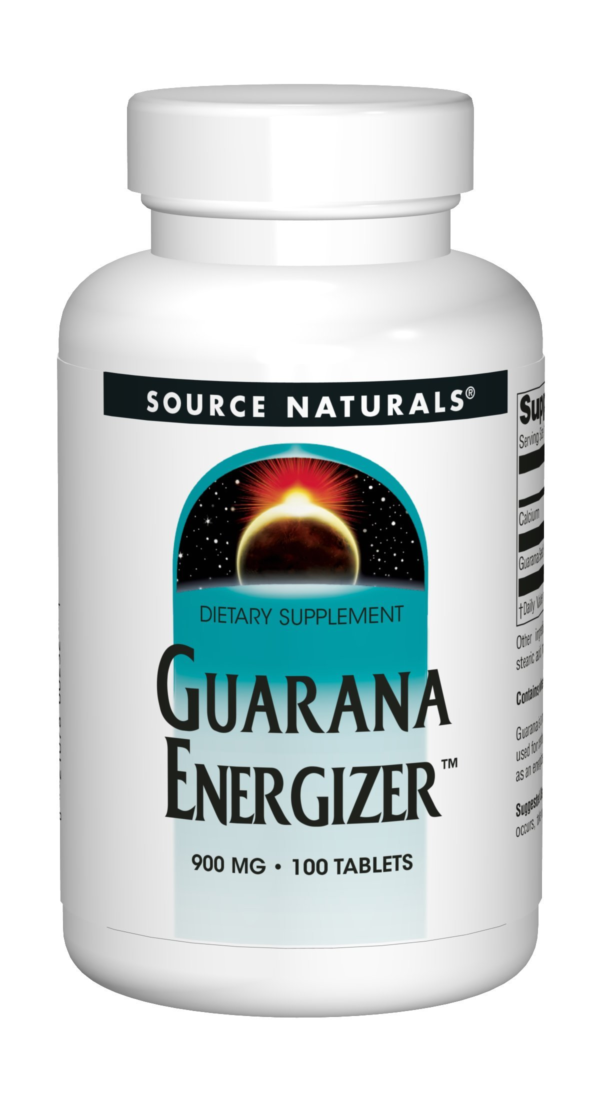 Source Naturals Guarana Energizer 900mg Pure Brazilian Herbal Caffeine Supplement - Natural, Slow Release Of Steady Energy - With Calcium - 100 Tablets