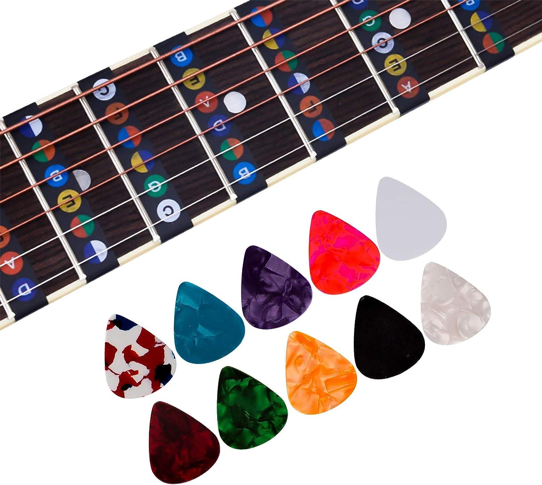 LUTER 2 pi/èces Autocollants de Touche de Guitare et 10 pi/èces de M/édiators de Guitare 6 Cordes de Guitare Acoustique Note de Touche Autocollants pour D/ébutant
