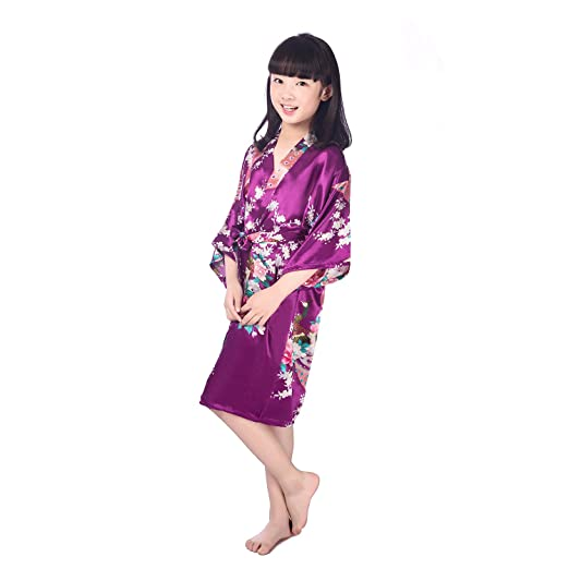 7ac8fa5ca6 Kids Children Girls Kimono Satin Silk Soft Peacock Bathrobe Robes Gown  Bridal Lingerie Sleepwear