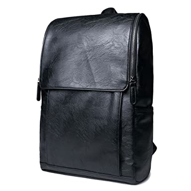 87235937b2e2 Amazon.com  YiYiNoe PU Leather Backpack Daypack School College Bookbag  Travel Rucksack Laptop Bag for 14 inch for Men Black  Clothing