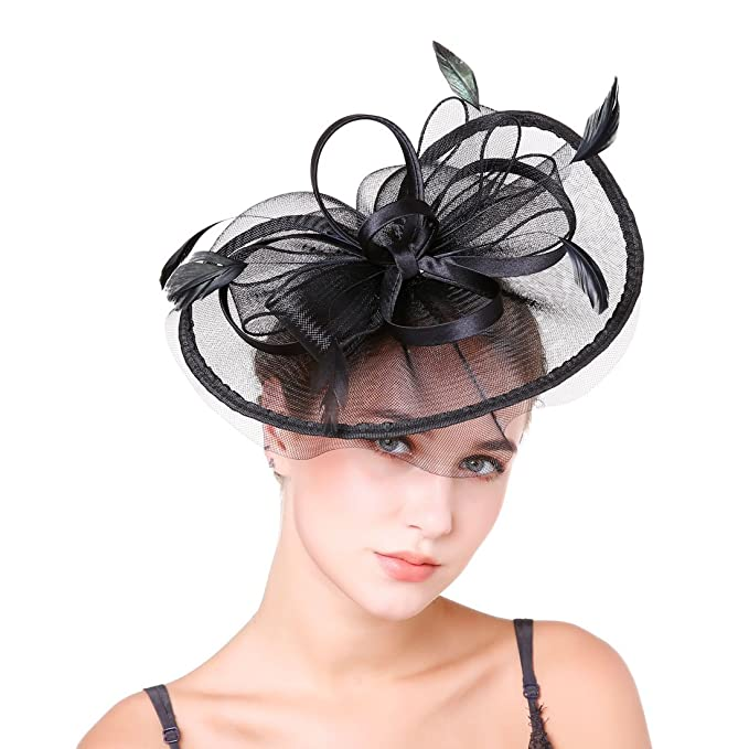 44537873c3d YSJOY Classic Sinamay Feather Veil Mesh Fascinator Hat Church Wedding Tea  Party Hat Big Derby Hat