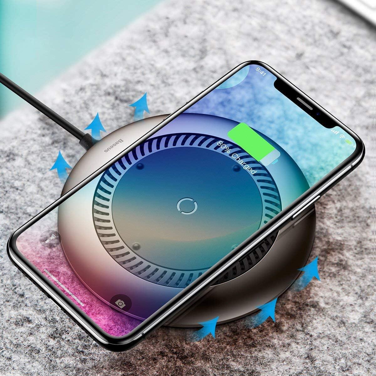 Baseus - Cargador inalámbrico Qi 10 W [delgado y ligero] [control de calor con ventilador] para iPhone X/iPhone 8/8 Plus, carga rápida para Galaxy S9/S9 Plus/S8/Note 8/S7 Edge, color negro