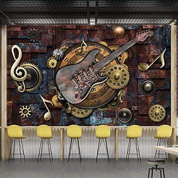 Papel pintado que cubre la pared retro metal engranajes notas ...