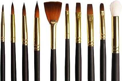 Set de Pinceles variados para acuarelas, acrílicos o colores al oleo, de cerdas de taklon, en estuche: Amazon.es: Oficina y papelería
