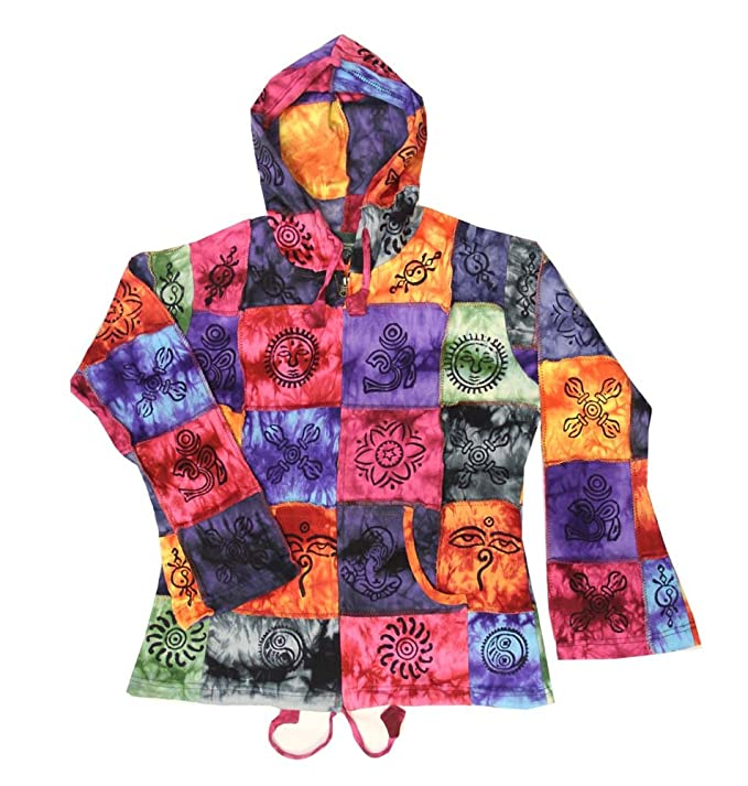 Amazon.com: Vintage Bohemian Hippie Patchwork Hoodie Tie Dye Multi Color Jacket Nepal Small Size: Clothing