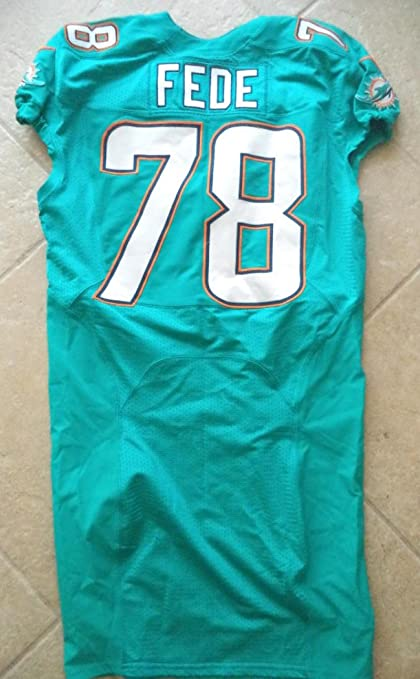 new styles 81164 5a259 TERRENCE FEDE MIAMI DOLPHINS #78 2014 ON FIELD JERSEY AQUA ...