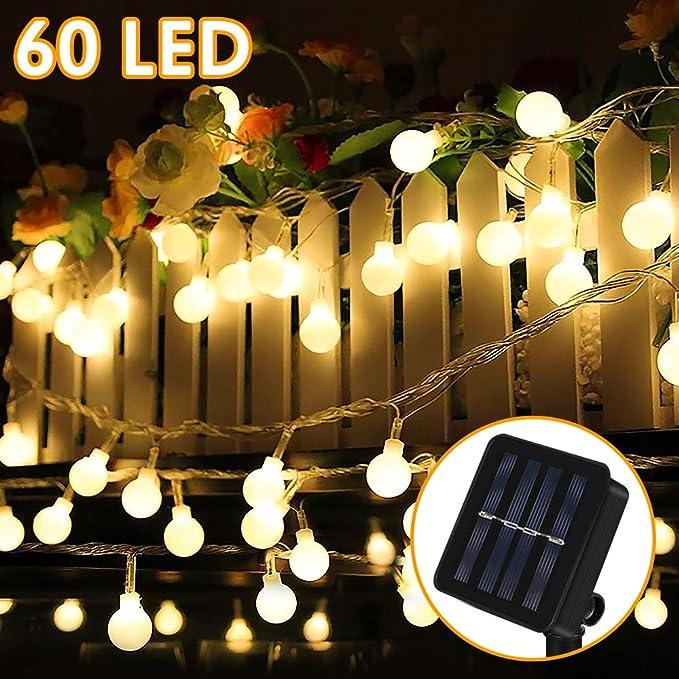 Guirnalda Luces Exterior Solar, Nasharia 60 LED 8M Cadena Solar de Luces, IP65 Impermeable 8 Modos, Guirnaldas Luces Solar para Exterior, Interior, Jardines, Boda, Fiesta, Casas (Blanco Cálido): Amazon.es: Iluminación