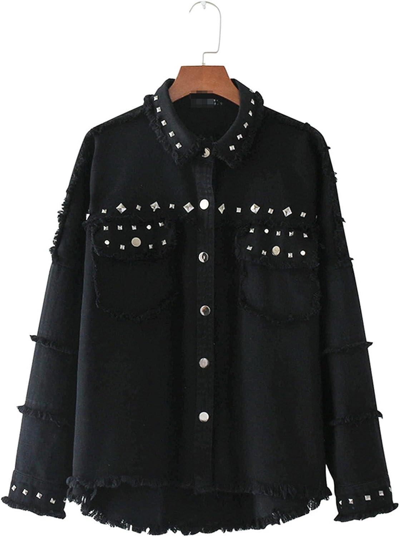 YouzhiWan007 Streetwear Pockets Rivet Frayed Jean Denim Jacket Women Turn-Down Collar Long Sleeve Casual Coat Black Outerwear