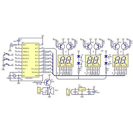 Gikfun AT89C2051 - Kit de reloj electrónico digital LED de 6 bits para soldar y practicar: Amazon.es: Bricolaje y herramientas
