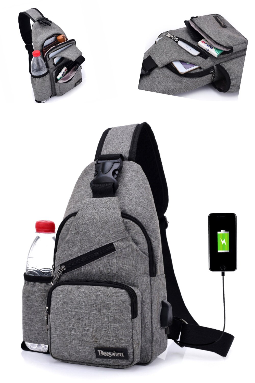 GuiShi(TM) Sling Shoulder Crossbody Chest Bag for Men Women Lightweight Hiking Travel College Multipurpose Anti Theft Satchel Daypack with USB Charging Port (Gray)