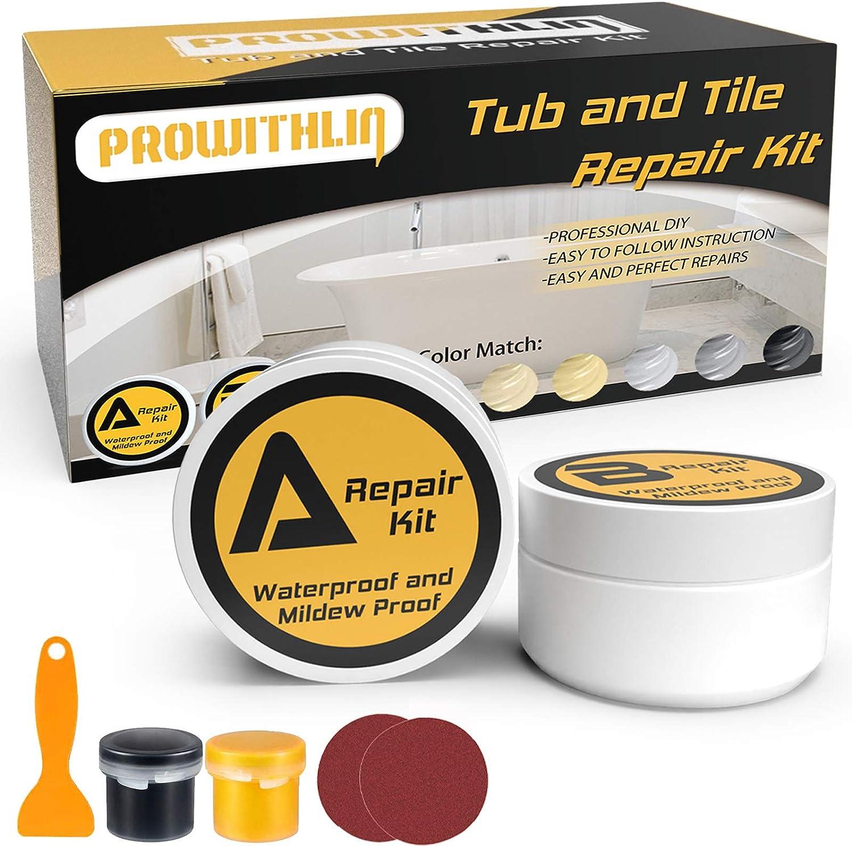 Tub Tile and Shower Repair Kit (Color Match)- Fiberglass Repair Kit Porcelain Repair Kit for Tubs Toilet Fiberglass Ceramic Crack Drill Holes Suitable for Multiple Colors (3.5oz)
