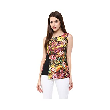 6ab3db9aaba7 Moderno™ Party Wear Digital multi color floral print Black contrast patch