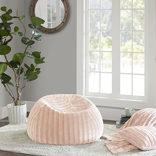 Madison Park Duke Faux Fur Shaggy Bean Bag Blush 32 D x 15 H