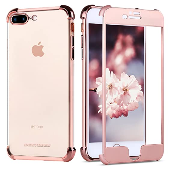 half off 15699 a0ac2 BENTOBEN iPhone 8 Plus Case, iPhone 7 Plus Case, Crystal Clear 2 in 1  Shockproof Slim Transparent TPU Protective Phone Cases Cover for iPhone 8  Plus / ...
