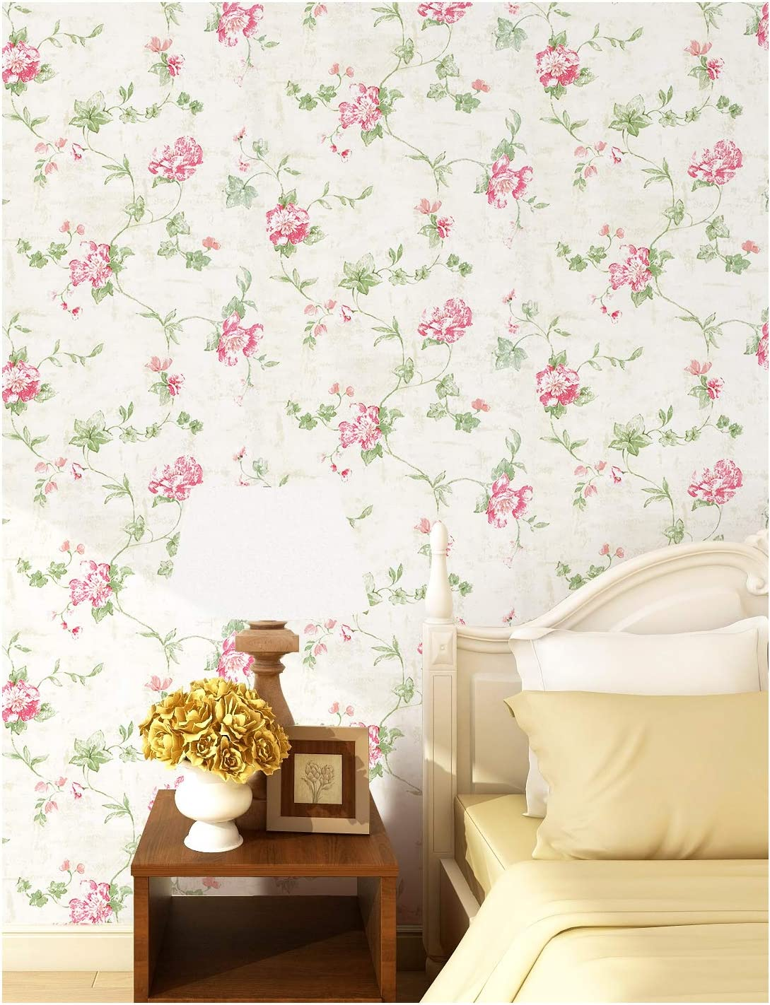 Haokhome 632664 Victoria Floral Wallpaper Peel And Stick Wall