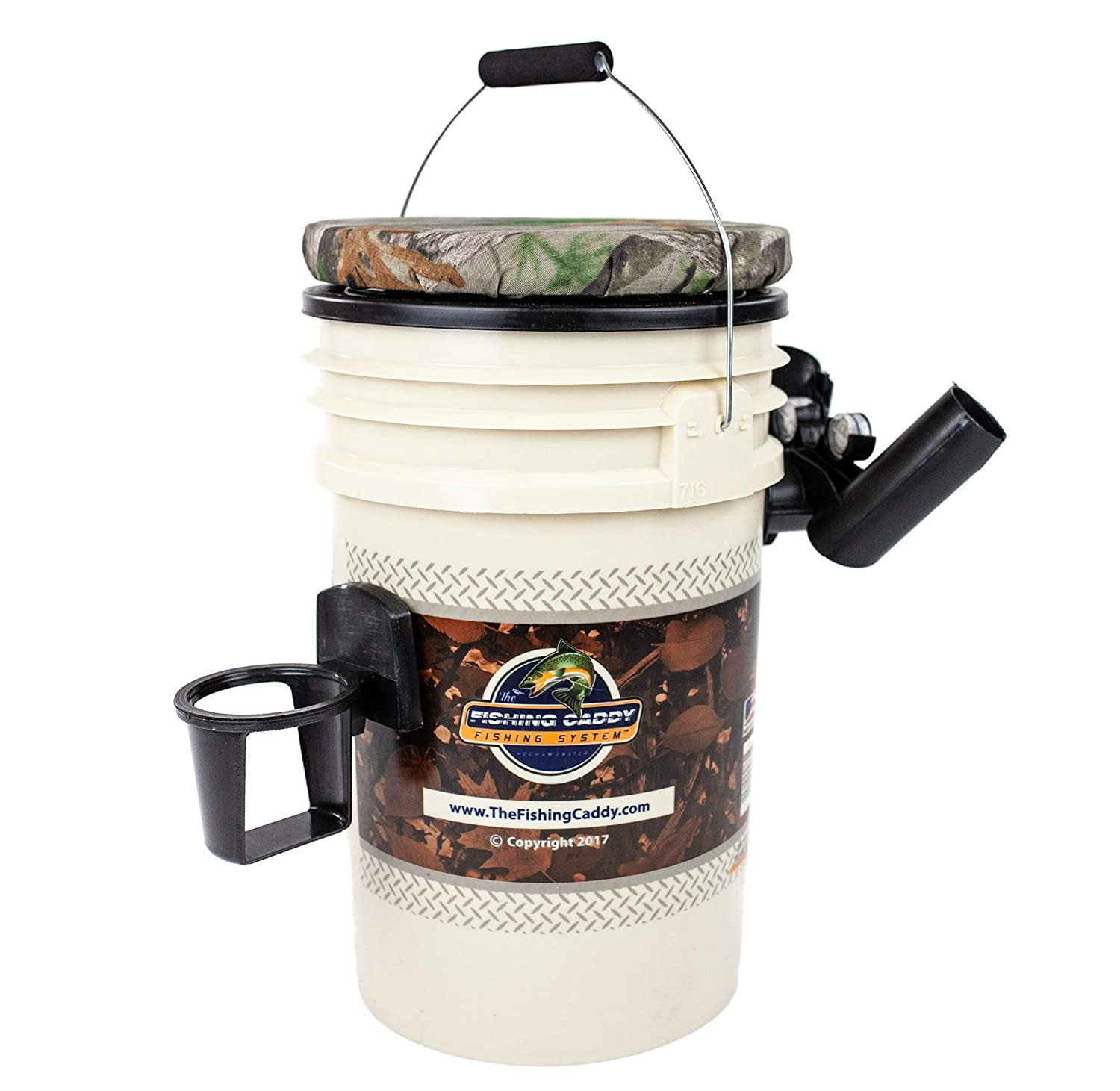 Fisherman Gift Cup Holder or Beer Holder /& LED Waterproof Light for Night Fishing THE FISHING CADDY Dual Fishing Rod Holder Fishing Bucket Storage or Bait Holder w//Swivel Padded Seat