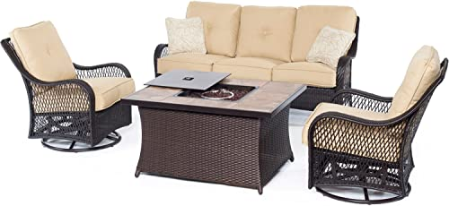 Hanover ORLEANS4PCFP-TAN-B 4 Piece Orleans Woven Lounge Set