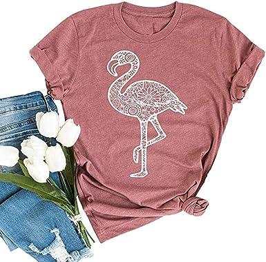 Colorful Flamingo Ladies Printed T-Shirts