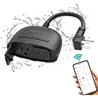 OOWOLF Outdoor Smart Plug with 2 Sockets, IP64 Waterproof WiFi Outlet Compatible with Alexa and Google Home, Wireless…