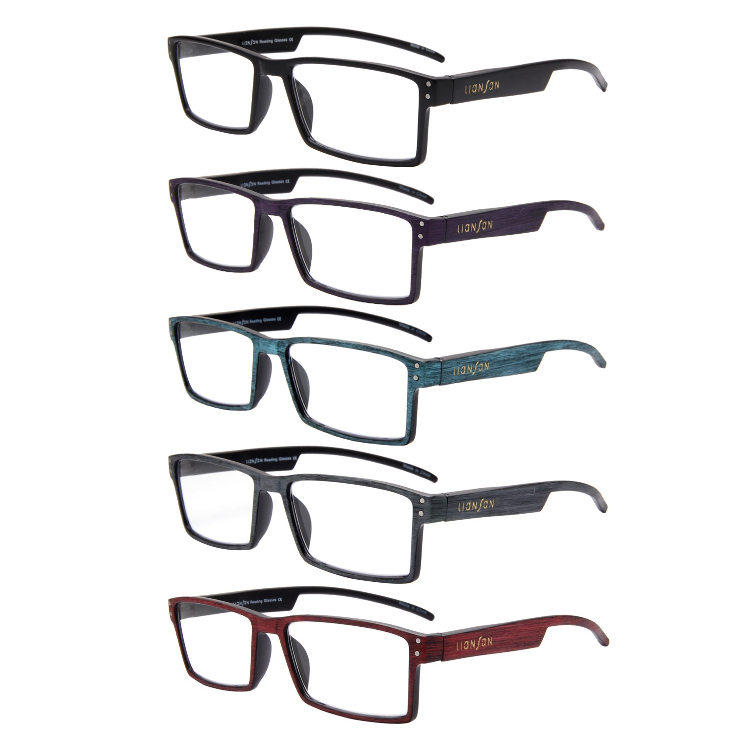 8333821d7cb Amazon.com  LianSan Reading Glasses 5 Pack Spring Hinge Quality Fashion  Wood-Look Printed Arms Men and Women Unisex Glasses L3719(+2.00)  Clothing