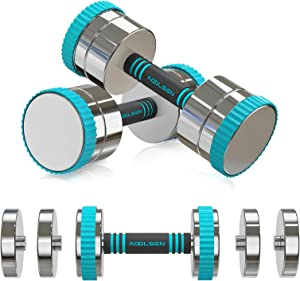 KOOLSEN Adjustable Dumbbells Weight Set, 44 lbs Adjustable Dumbbell Pair for Men and Women with Anti-Slip Handle, All-Purpose, Home, Gym, Office Workout Fitness. (22lbs x 2)