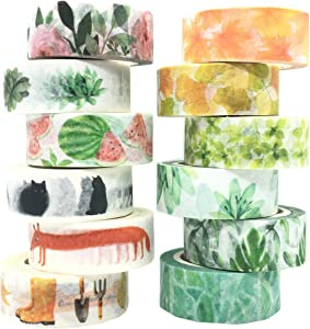VIVIQUEN Floral Washi Tape Set Spring Tape Succulent Tape Masking Cute Animal Decorative Tape for DIY Journal, Scrapbooking, Crafts, Gift Wrapping, Holiday Decoration Planner Accessories (12 Rolls)