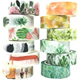 Floral Washi Tape Set Spring Tape Succulent Tape Foil Masking Cute Animal Decorative Tape for DIY Journal, Scrapbooking, Crafts, Gift Wrapping, Holiday Decoration Planner Accessories (12 Rolls)