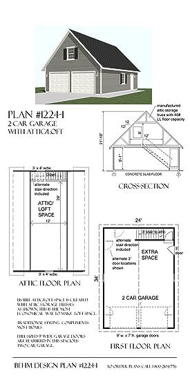 Garage Plans 2 Car With Loft 1224 1 24 X 34 Two Car By
