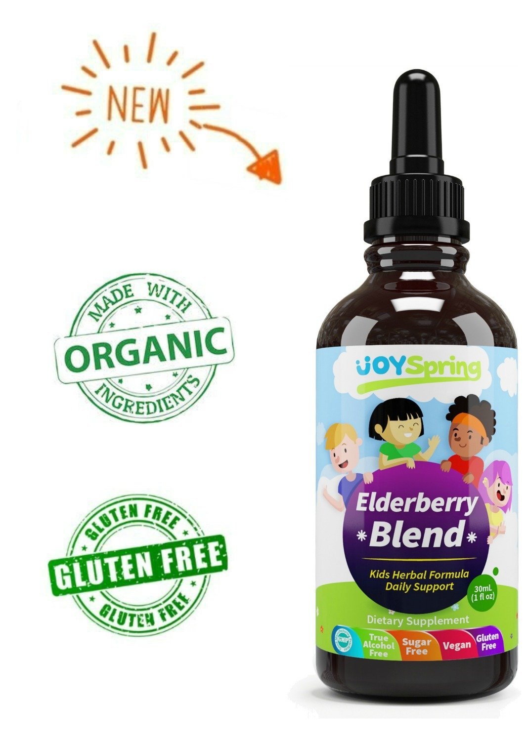 Organic Elderberry Syrup for Kids - Best Natural Kids Cold Medicine, Pure Elderberry Blend for Sickness Relief, 3X Stronger Vegan & Sugar-Free Formula to Strengthen Immune System by JoySpring