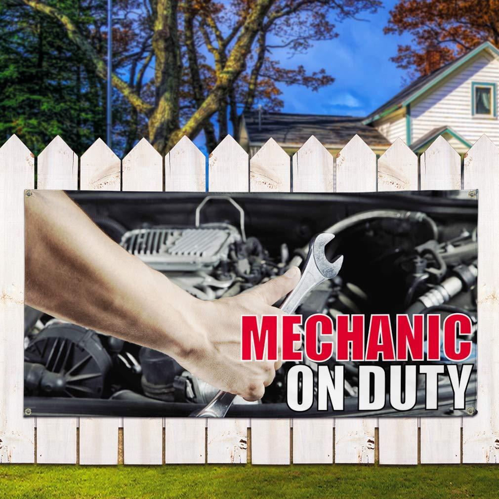 Set of 3 Multiple Sizes Available Vinyl Banner Sign Mechanic On Duty #1 Style G Business Marketing Advertising Black 24inx60in 4 Grommets