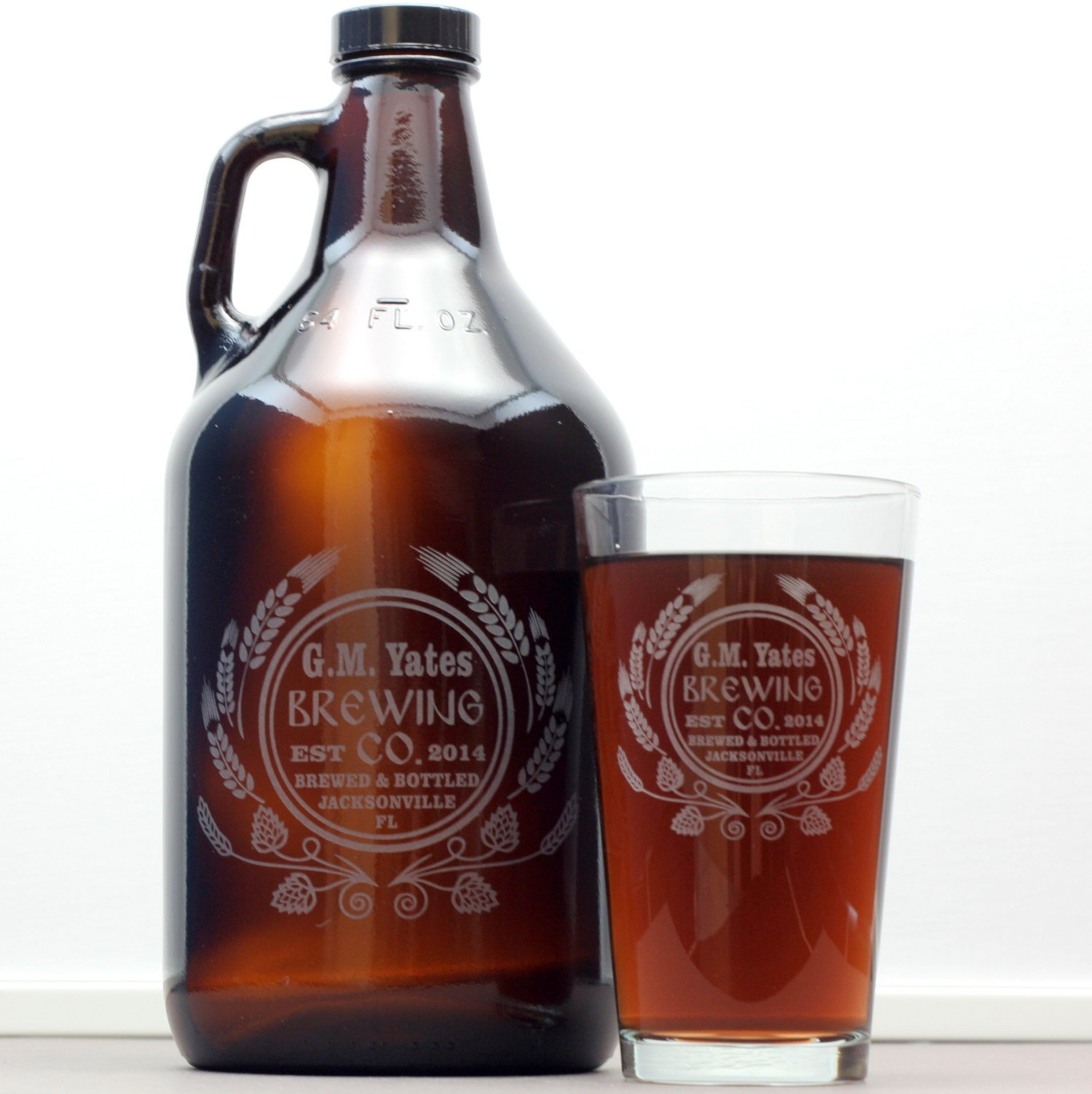 Personalized Engraved Homebrew Growler and Glasses with Hops and Wheat Art (Set of 4)
