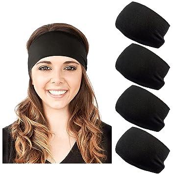 Black Soft Velvet Headband School Gym Dance Elasticated Stretchy Hair Band Gift