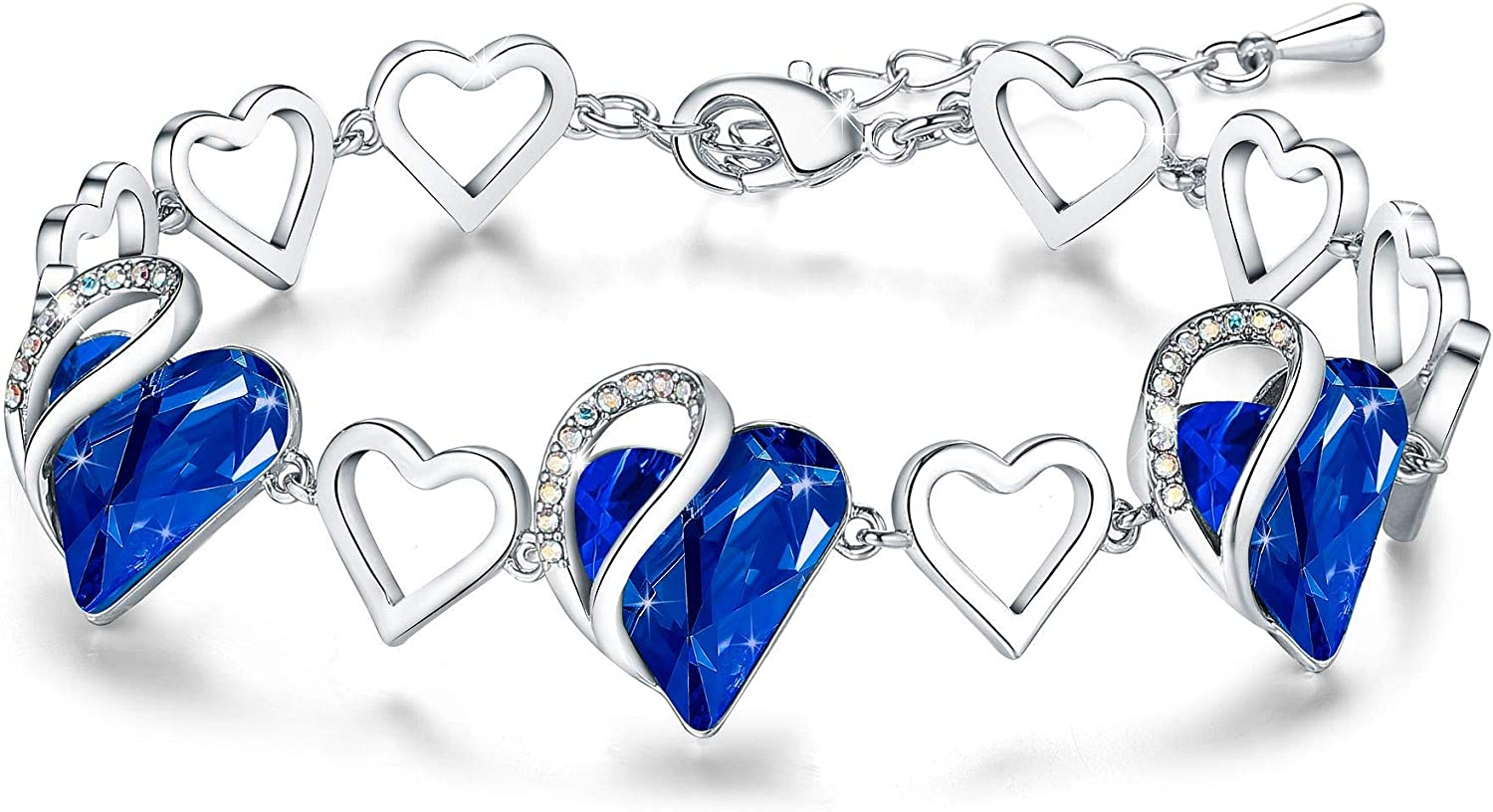 "Leafael Infinity Love Silvertone with Birthstone Crystal Women's Gifts Heart Bracelet, 7"" with 2"" Extender"