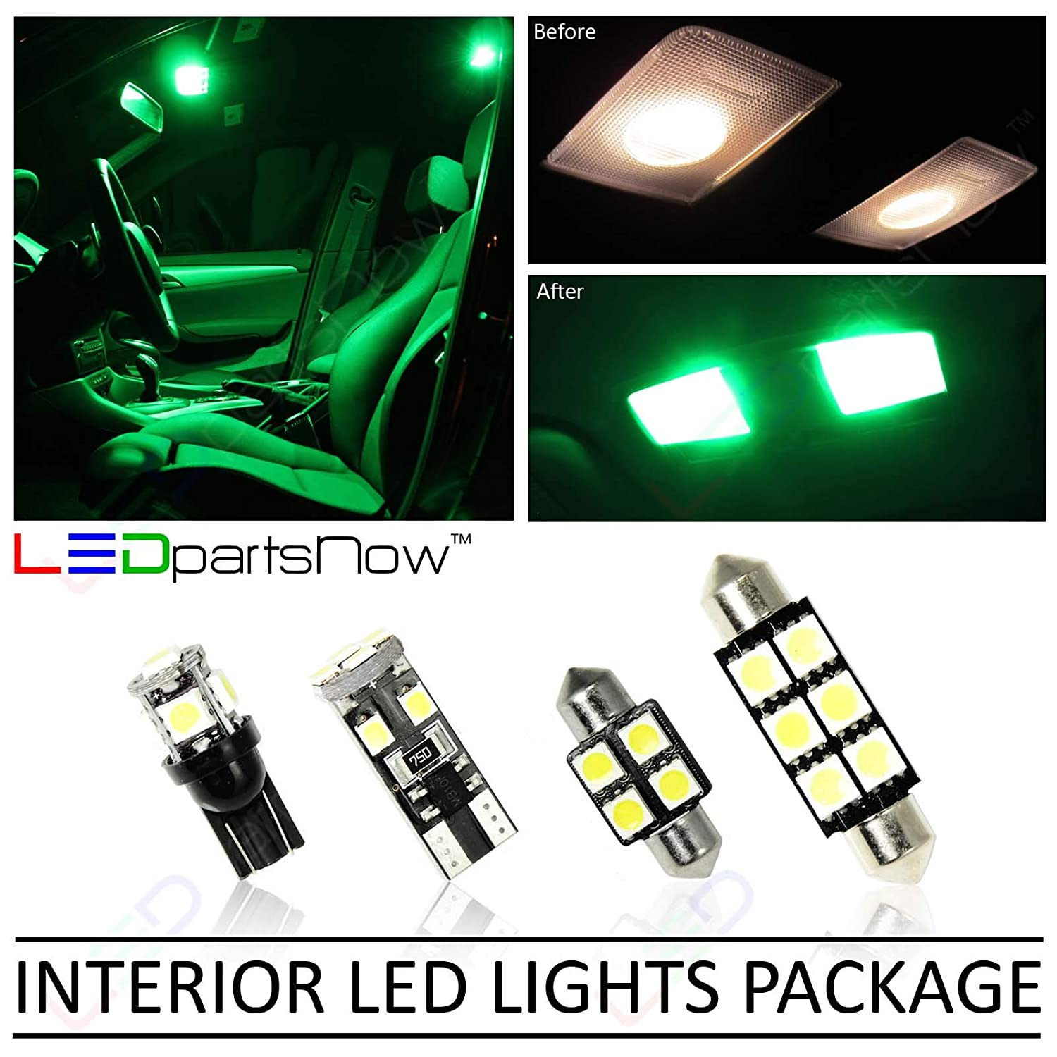 LEDpartsNow Interior LED Lights Replacement for 2003-2009 Hummer H2 Accessories Package Kit (20 Bulbs), GREEN