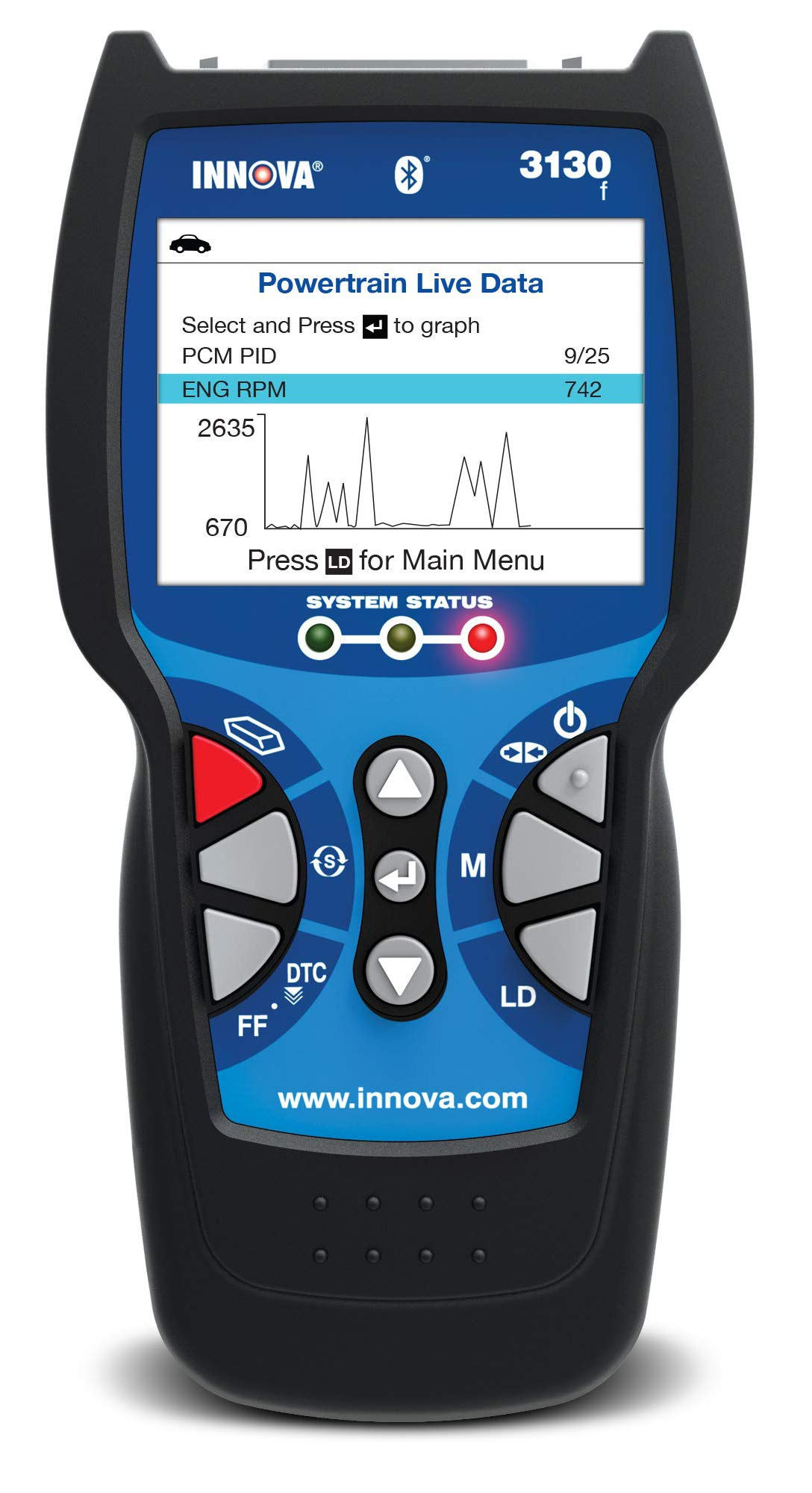 OBD2 Scanner / Car Code Reader with ABS, Live Data, Battery Reset, and Service Light Reset