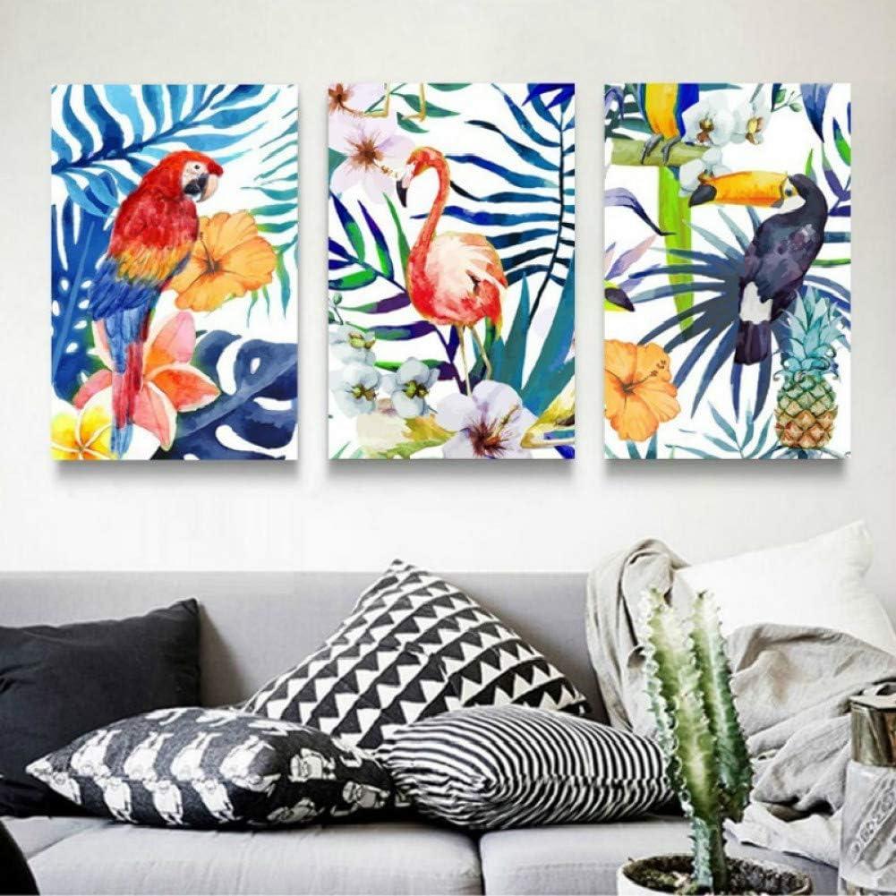 MMLFY 3 Cuadros consecutivos 30x40cm3pcs Coloridas Hojas Modernas FloresLoro Lienzo Pinturas Cartel impresión Pared Arte Cuadros para Sala de Estar decoración