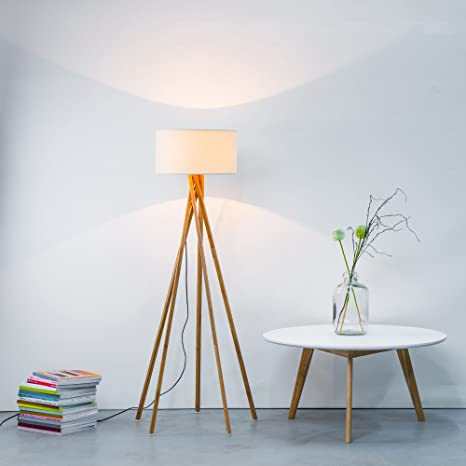 Moderna Lámpara de pie con tela y estructura de madera, 1 x ...