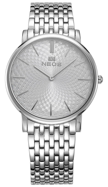 Paar Uhren Ultra Slim Morie Zifferblatt Edelstahl Band Quarz Wasserdicht Armbanduhr fÜr Ihre HIS weiß weiß