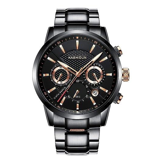 KASHIDUN Relojes Hombre Acero Inoxidable Reloj de Pulsera de Lujo Moda Cronómetro (A 2)