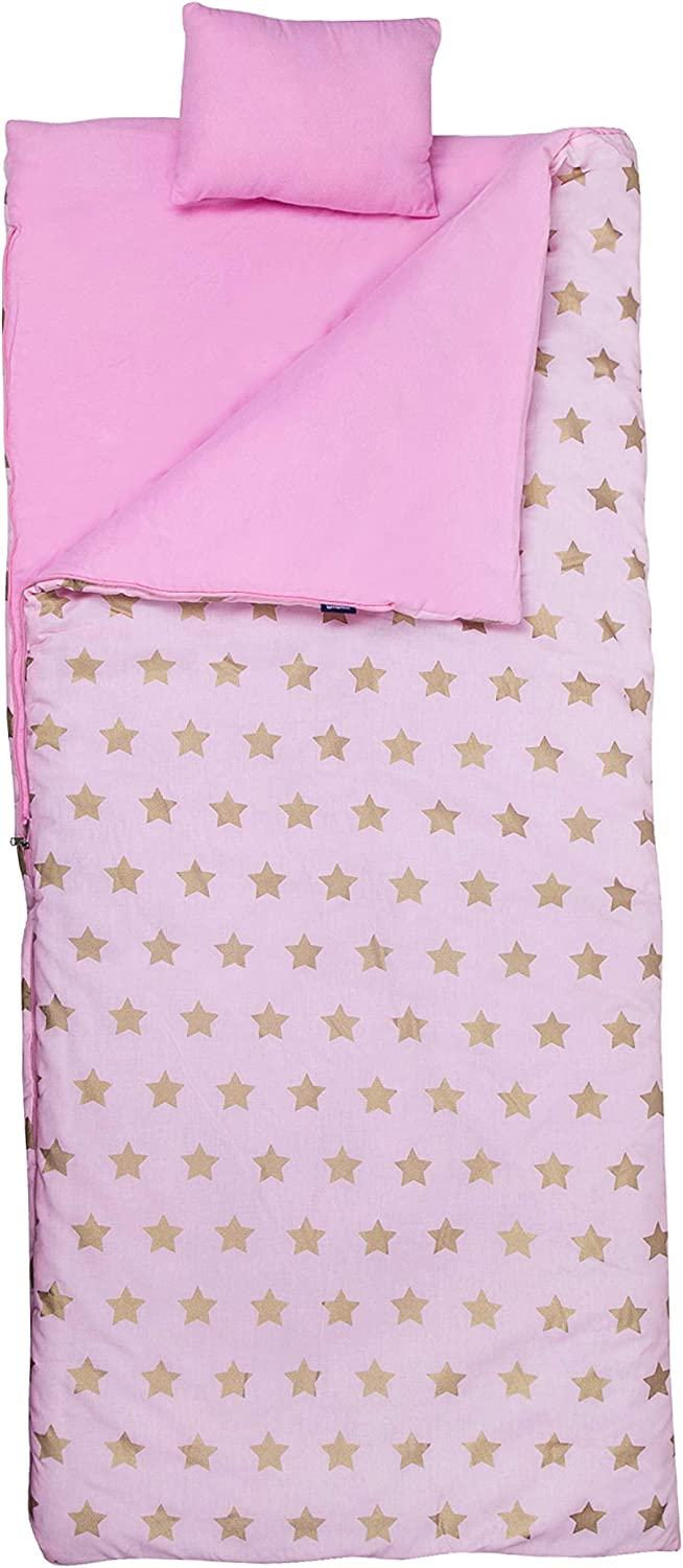 Wildkin Kids Sleeping Bags for Boys and Girls,Perfect Size for Parties, Camping, and Overnight Travel, Sleeping Bag,Cotton Blend Materials,BPA-free, Measures 66 x 1. 5 x 30 Inches(Pink and Gold Stars)
