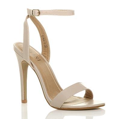 9287f50e53c4fe Damen Hoch Absatz Kaum Dort Schnalle Fesselriemen Sandalen Schuhe Größe 3 36