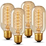 T45 Vintage Edison Light Bulb, DORESshop Antique Tubular Style Incandescent Bulb, Warm White, Amber Glass, 110-130 Volts, E26 Medium Base Lamp for Home Light Fixtures Decorative, 4 Pack