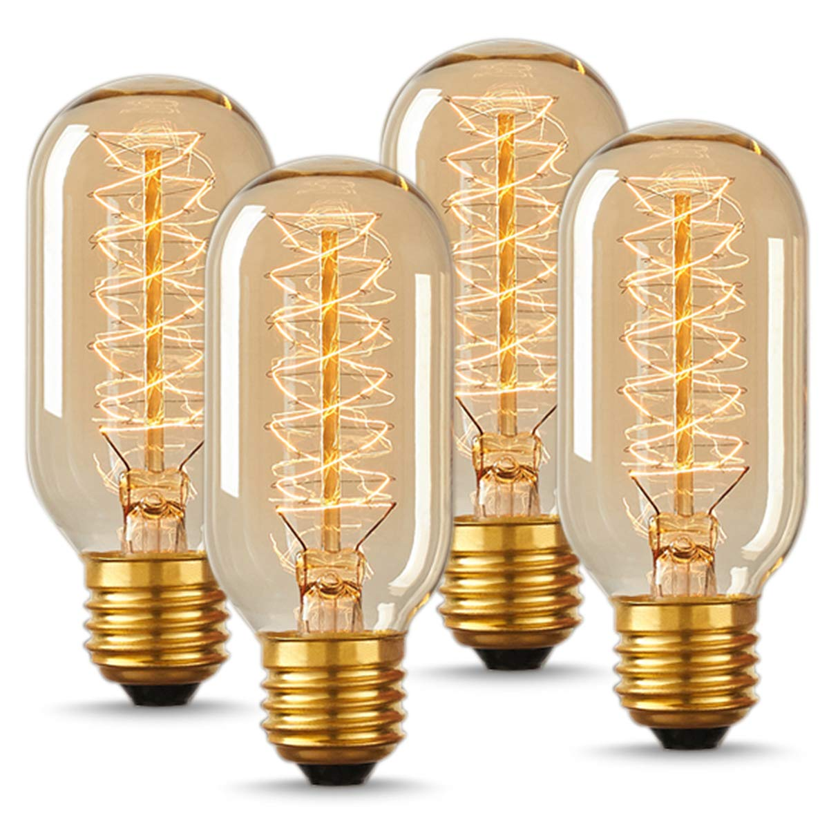 T45 Vintage Edison LED Bulb, DORESshop Antique Tubular Style Incandescent Bulb, Warm White, Amber Glass, 110-130 Volts, E26 Medium Base Lamp for Home Light Fixtures Decorative, No Dimmable(4 Pack)